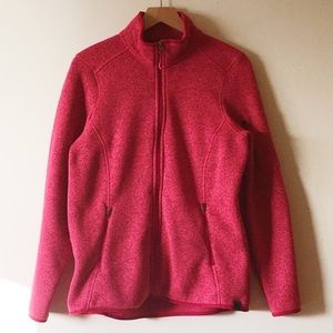 L L Bean pink full zip fleece jacket size large